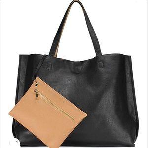 Handbags - Vegan leather tan & black reversible tote handbag